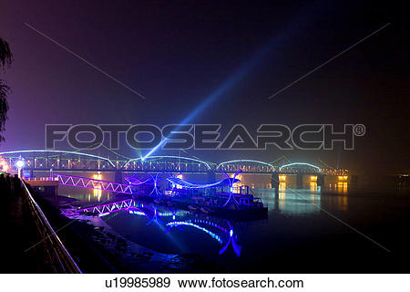 Stock Photograph of The Broken Bridge Yalu river Dandong Liaoning.