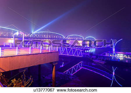 Picture of The Broken Bridge at night Yalu river Dandong Liaoning.