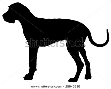 of a silhouette of a great dane in a vector clip art illustration.