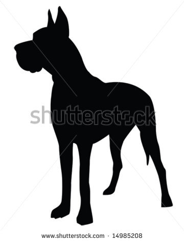 Dane silhouette in a vector clip art illustration.