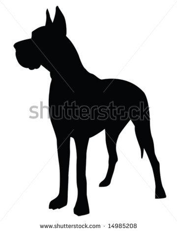 Dane silhouette in a vector clip art illustration.