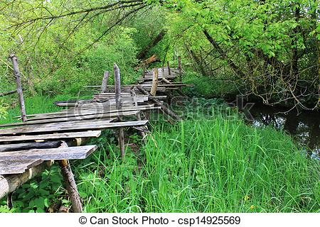 Stock Image of Dangerous if broken wooden bridge on foot.