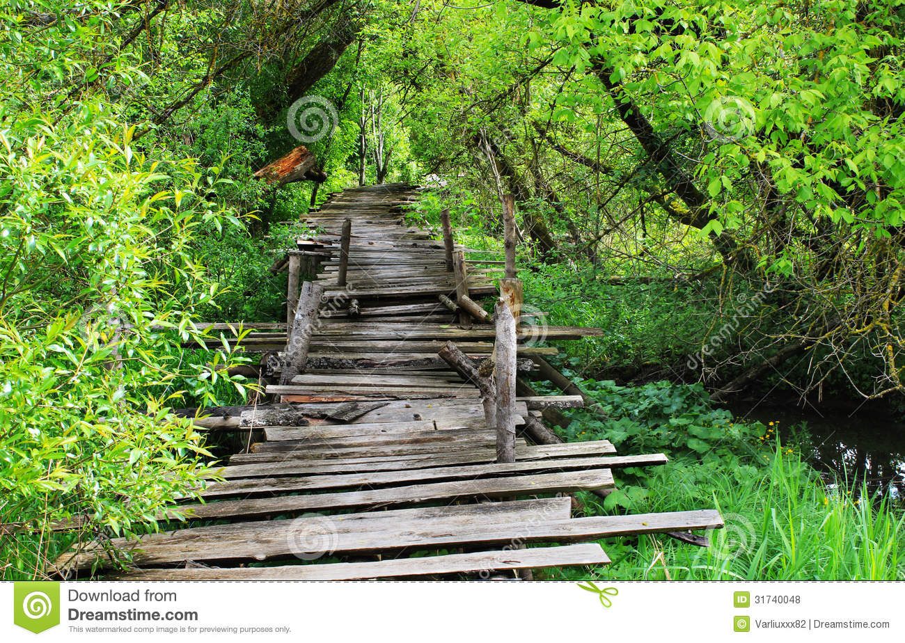 Dangerous Wooden Bridge Royalty Free Stock Photos.