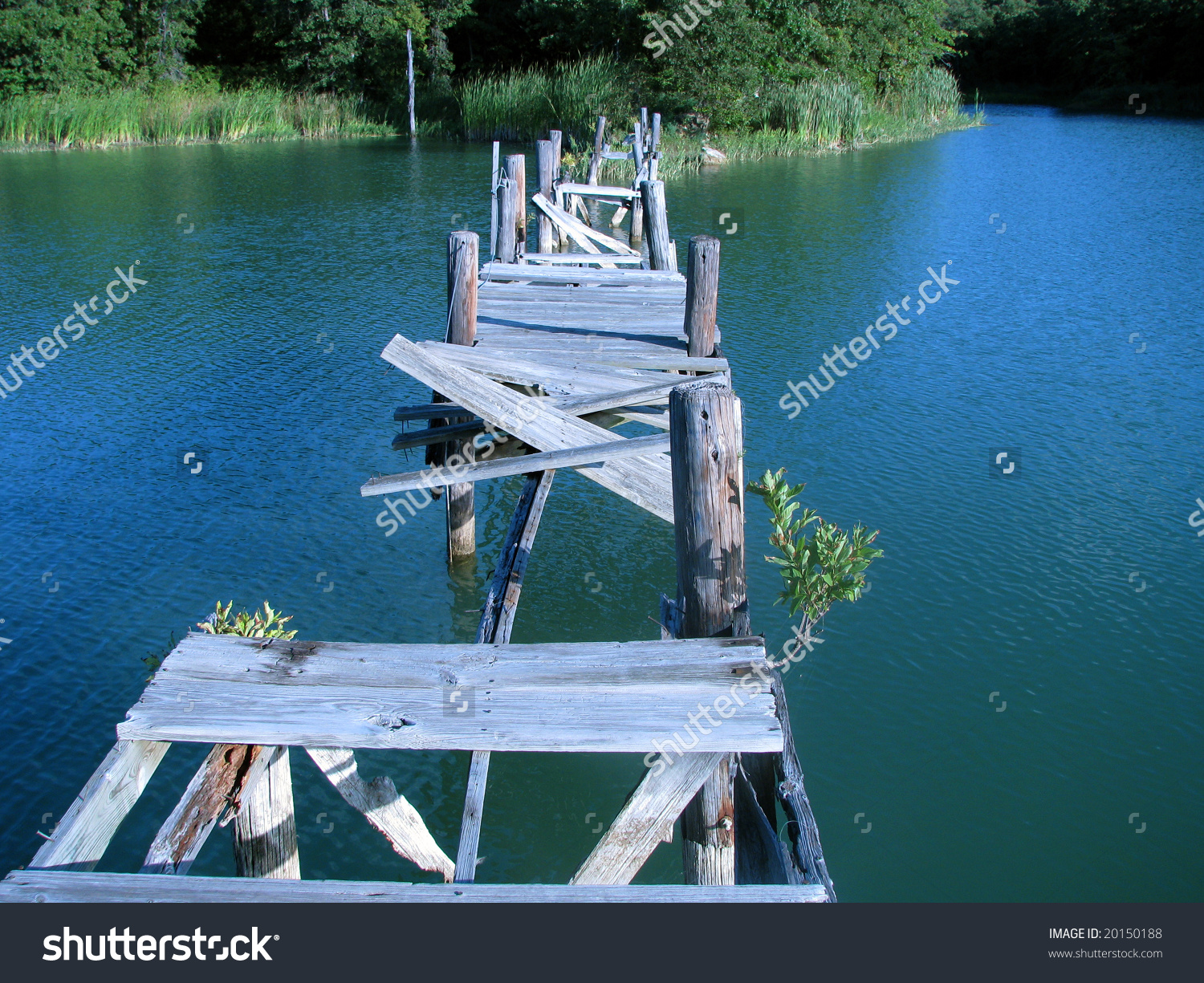 Broken Wooden Bridge After Disaster Over Stock Photo 20150188.