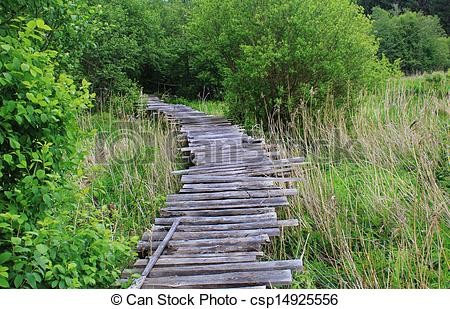 Stock Images of Dangerous if broken wooden bridge on foot.
