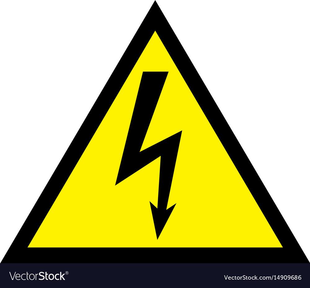 High voltage sign danger symbol black arrow.