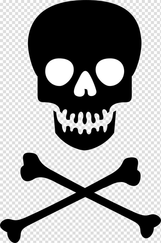 White and black illustration, Hazard symbol Skull and.