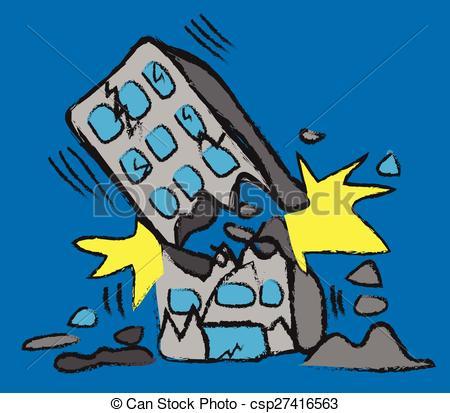 Clip Art Vector of doodle building earthquake, vector illustration.