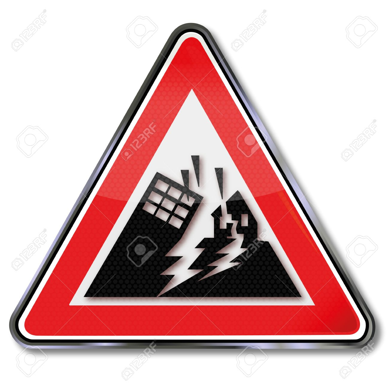 Sign Disaster And Houses Collapse In An Earthquake Royalty Free.