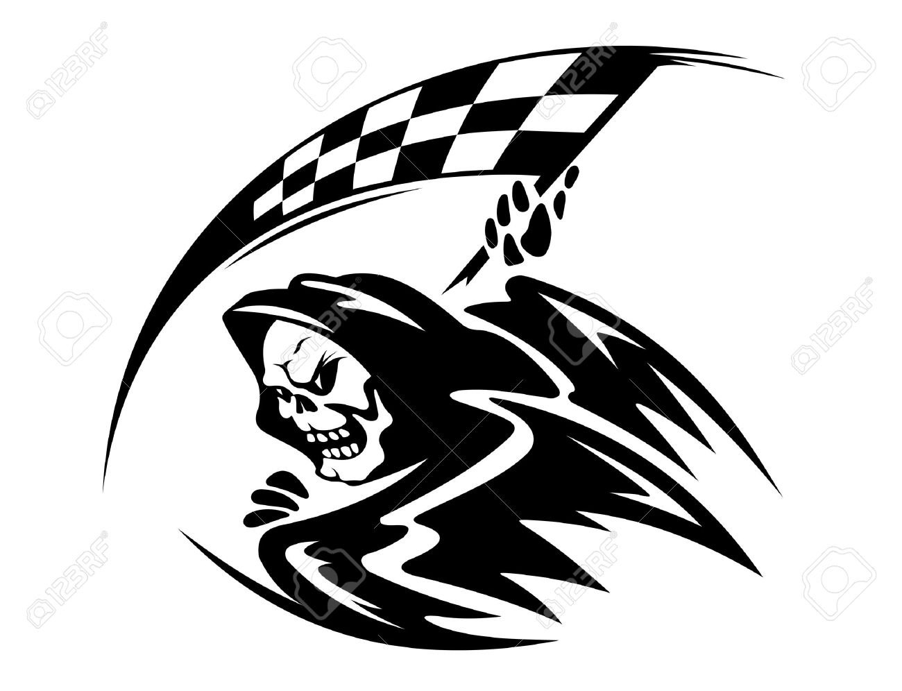 Black Danger Death Demon With Ckeckered Flag Royalty Free Cliparts.