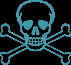 Skull bones pirates danger death scary vector clip art.