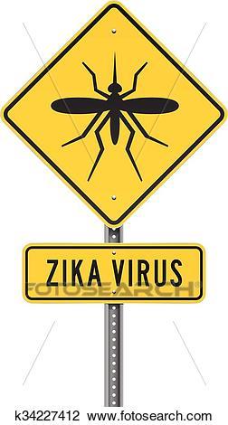 Zika Virus Roadsign Clipart.