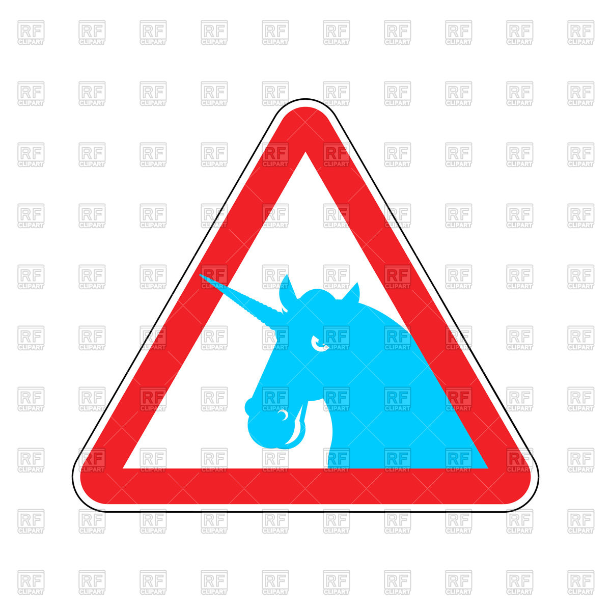 Triangular red attention sign with blue unicorn, dangers road sign Stock  Vector Image.