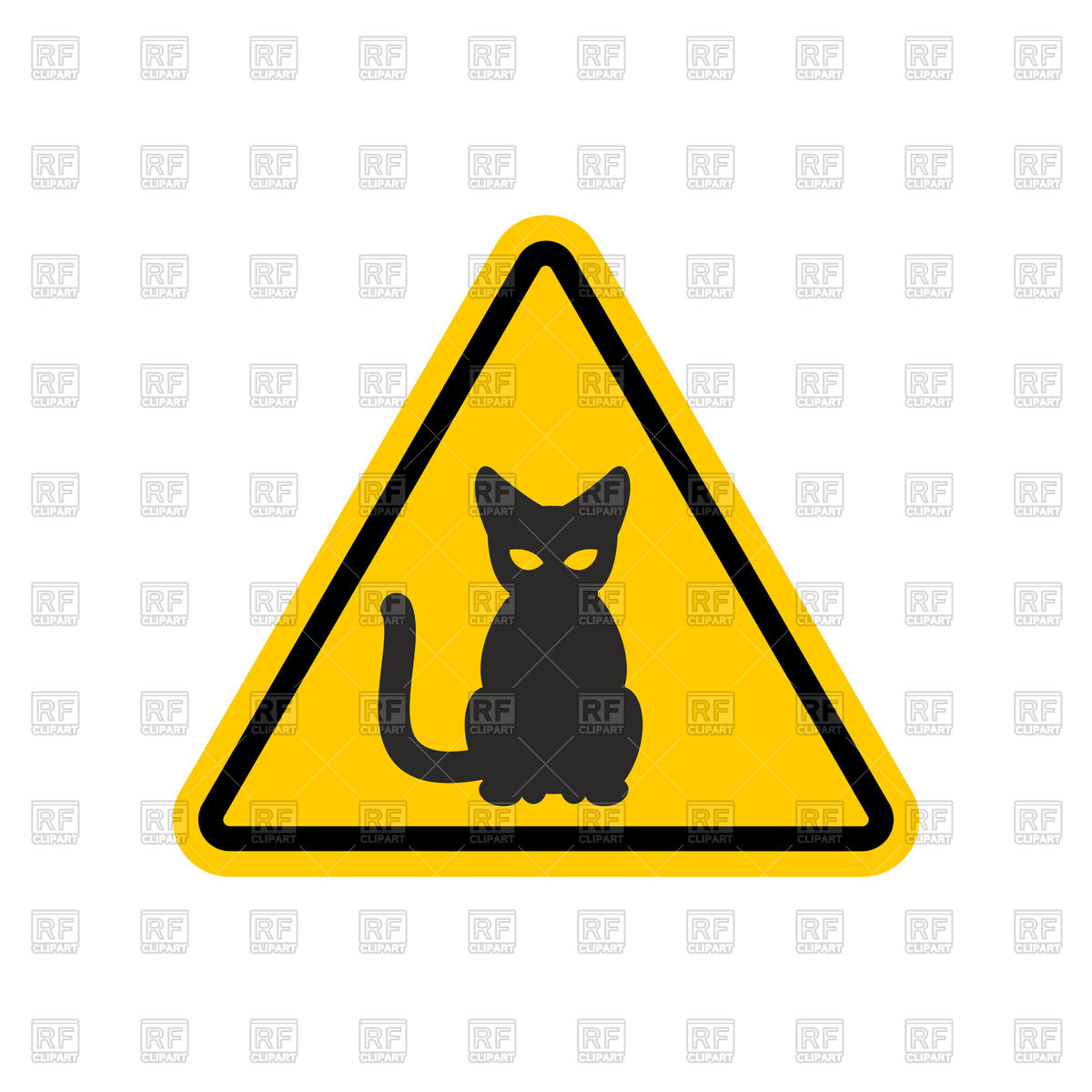 Yellow triangular attention sign with black cat, danger road sign Stock  Vector Image.