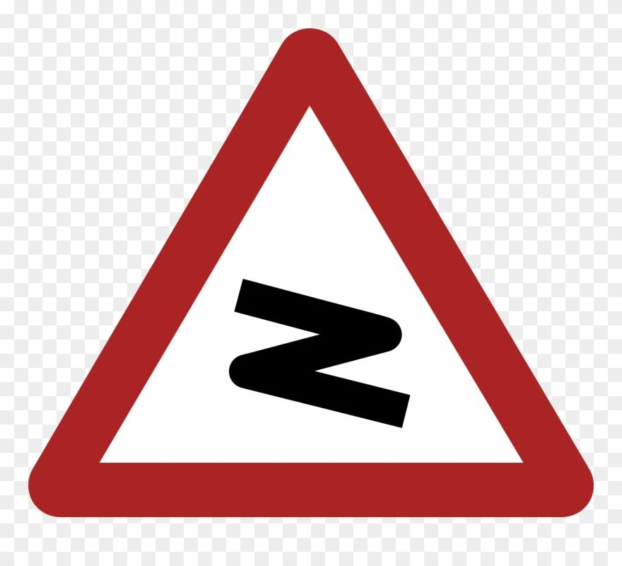 Dangerous Bend Warning Road Sign.