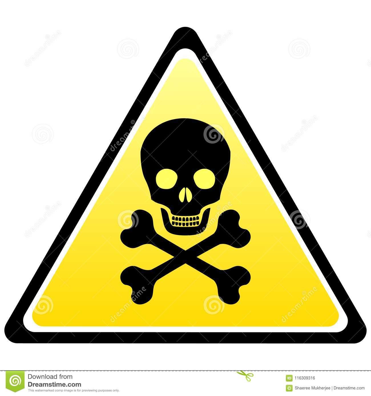 Vector Illustration Skull Danger Sign Stock Vector.