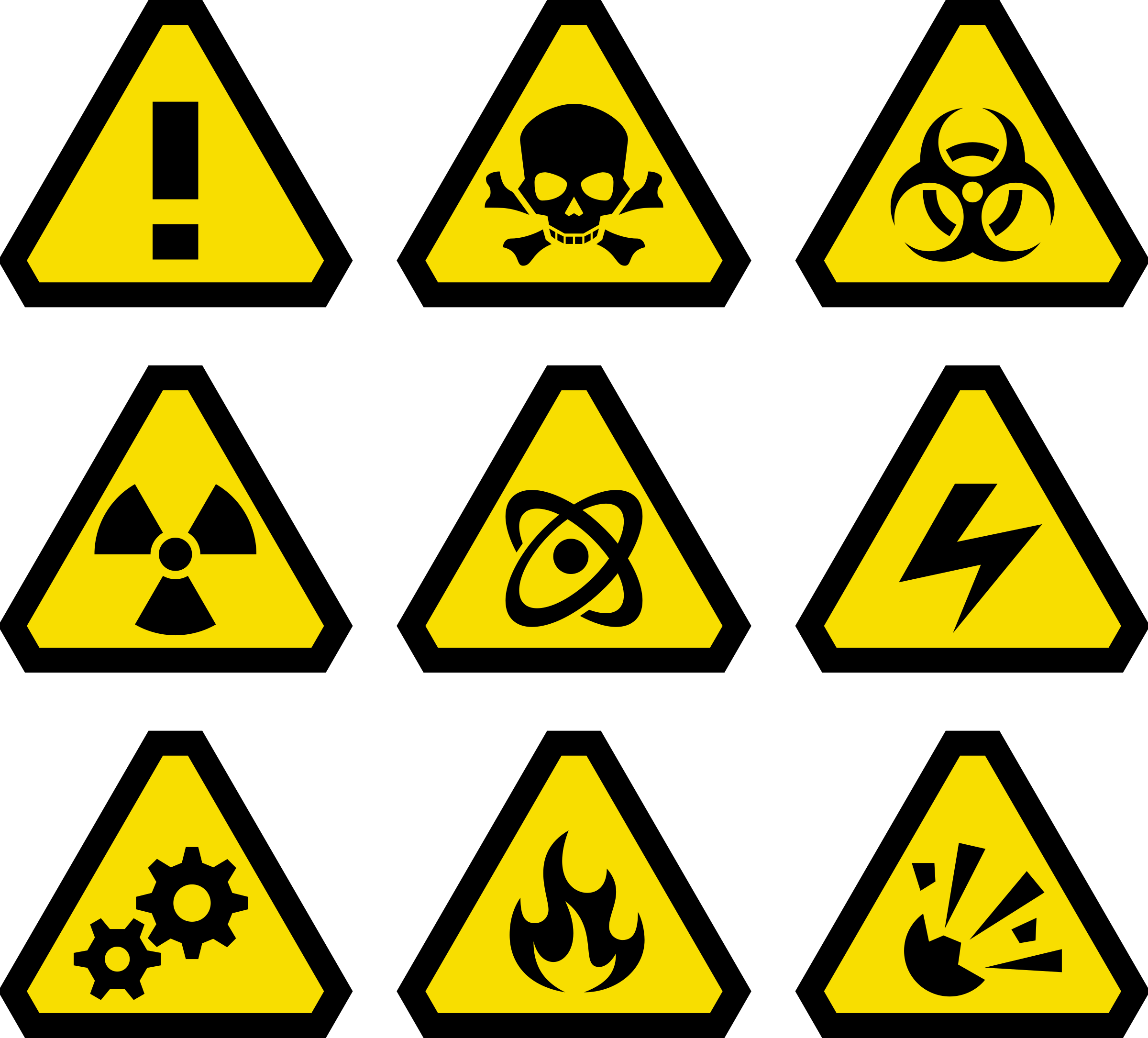 Clip art warning signs.