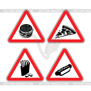 Set warning signs fast food. danger sign. Harmful.