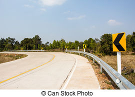 Picture of Road Signs warn Drivers for Ahead Dangerous Curve.