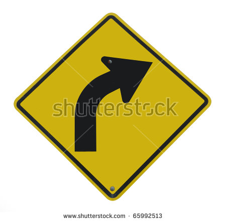 Curve Ahead Road Sign Stock Illustration 136957874.