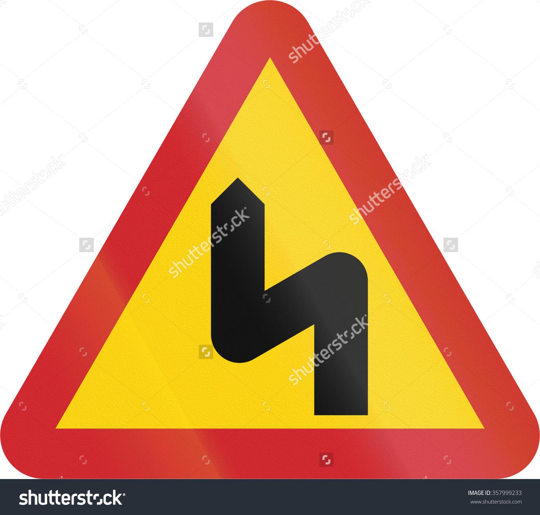 Road Sign Used Sweden Dangerous Curves Stock Illustration.