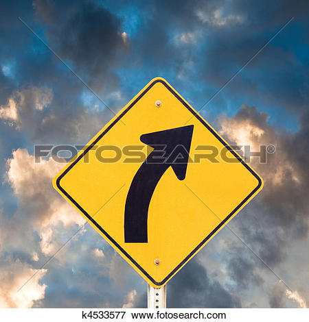 Picture of Road sign right curve k4533577.