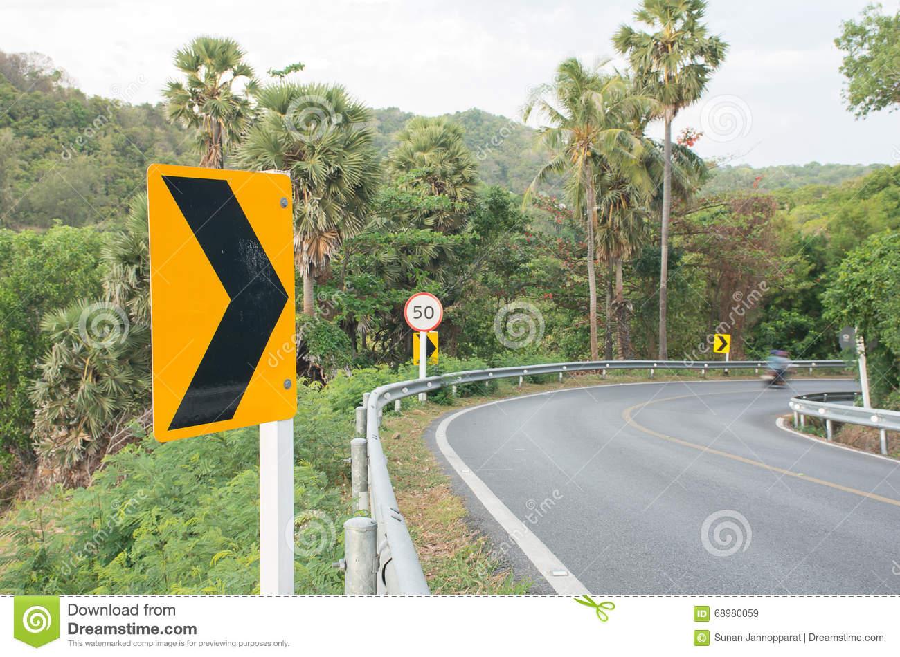 Dangerous Road Curve Signs Stock Images.