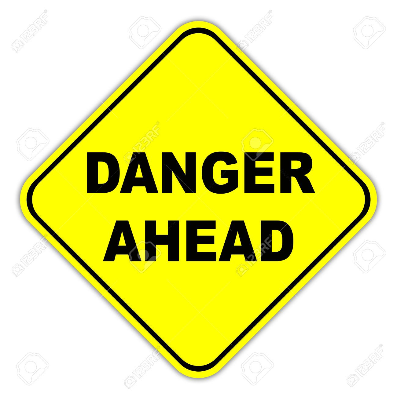 Yellow Danger Ahead Road Sign Stock Photo, Picture And Royalty.