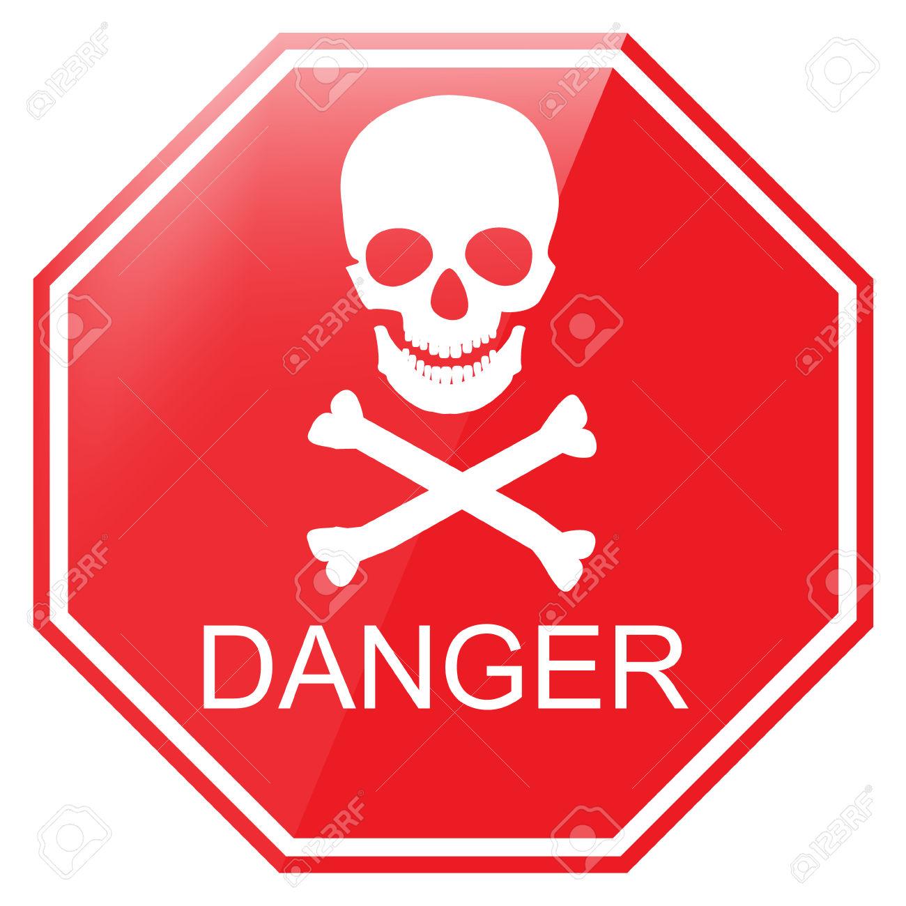 Vector Illustration Red Octagon Danger Sign With Skull Symbol.