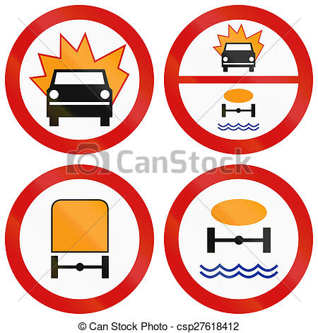 Clipart of Dangerous Goods Prohibition Signs In Poland.