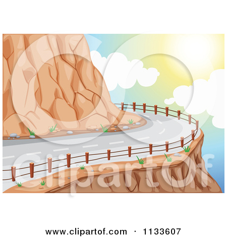 Cartoon Of A Curvy Cliff Road.