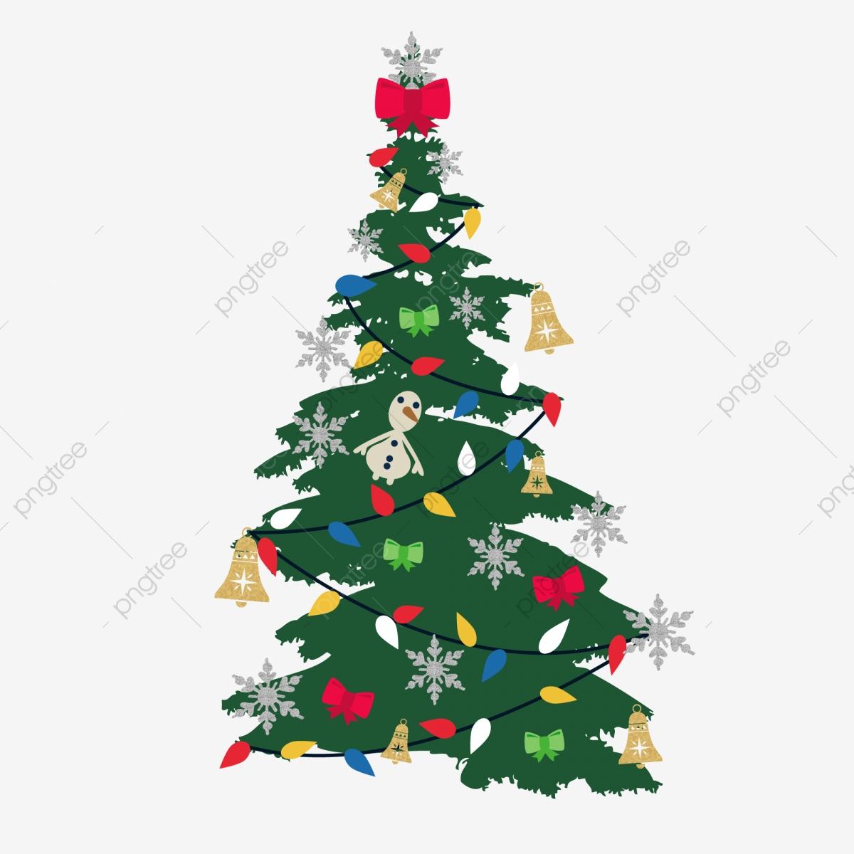 Christmas Green Hanging Lights Bow Bells Snowflakes Tree, Christmas.