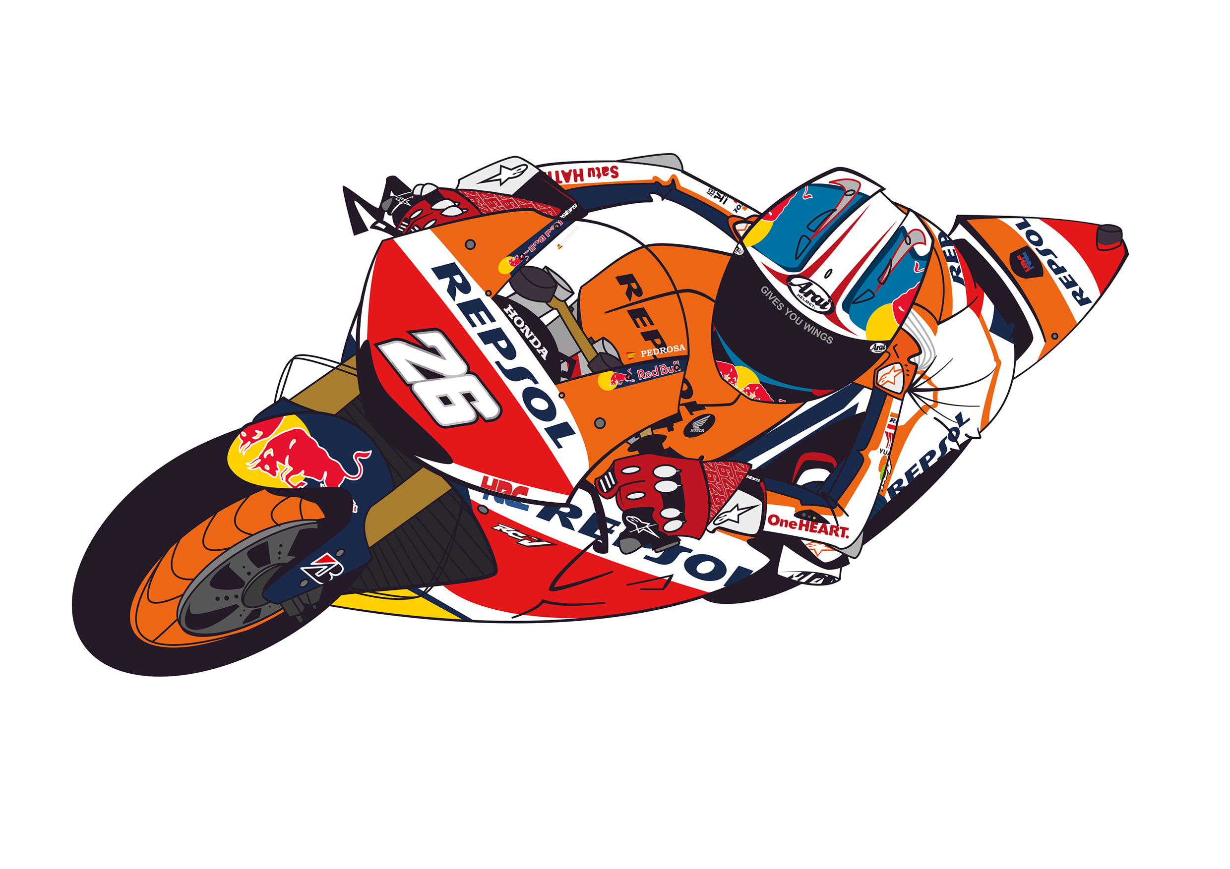 Dani Pedrosa vectorial drawing process.