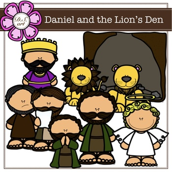 Daniel and the Lion's Den Digital Clipart (color and black&white).