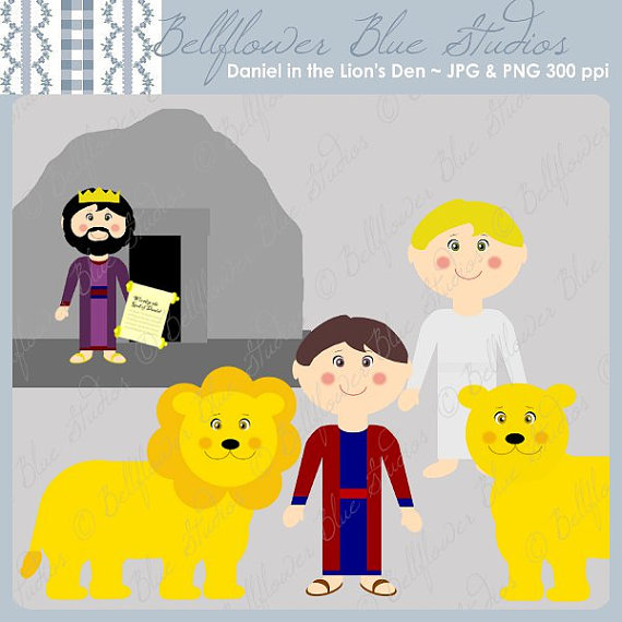 Daniel in the Lion's Den Digital Clipart (full color version.
