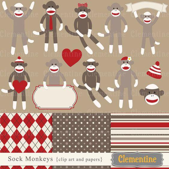 Sock monkey clip art images, sock monkey clipart, sock monkey.