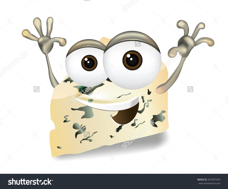 Happy Blue Cheese Cute Funny Gorgonzola Stock Vector 347287454.