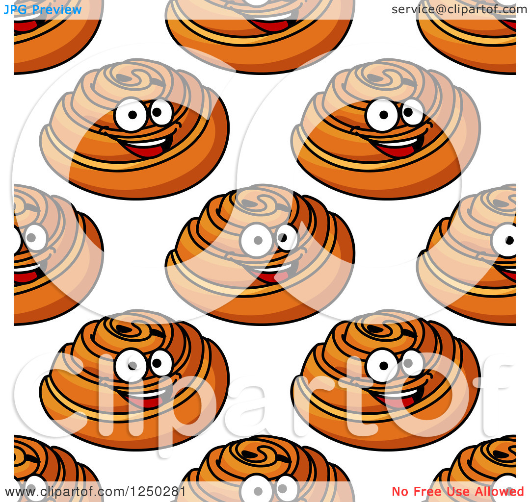 Clipart of a Seamless Background of Danish Pastries.