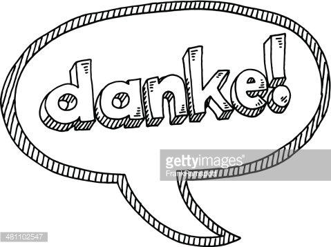 Danke! German Text Speech Bubble Drawing Clipart Image.
