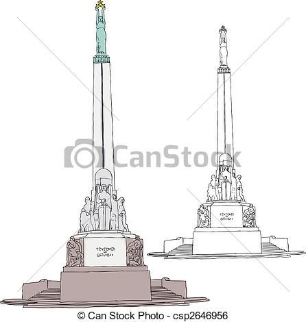 Clip Art Vektor von freiheit, Riga, denkmal.