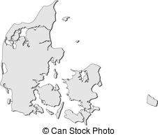 Clip Art Vector of Map of Danmark.