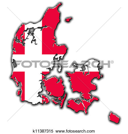 Stock Illustration of Stylized contour map of Denmark k11387315.
