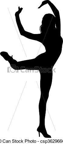 Clip Art Vector of Silhouette woman dance.