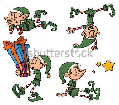 Cartoon Christmas Elves Clipart.