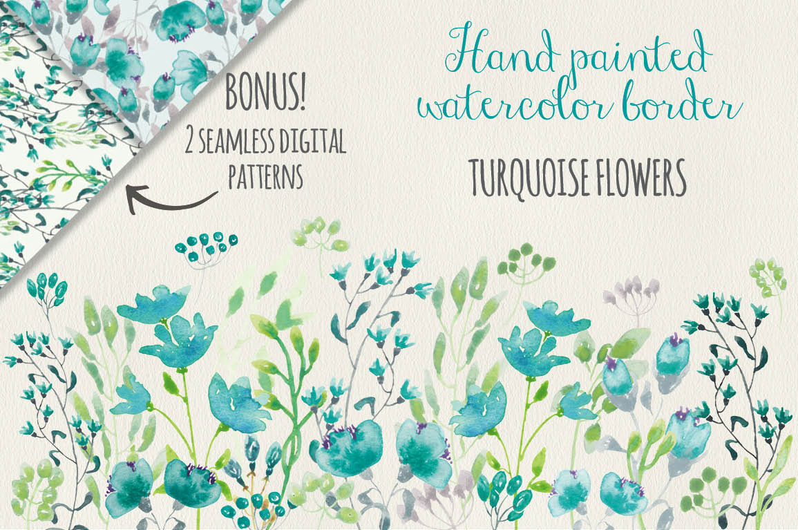 Watercolor clip art: dainty border of turquoise flowers by Lolly's.