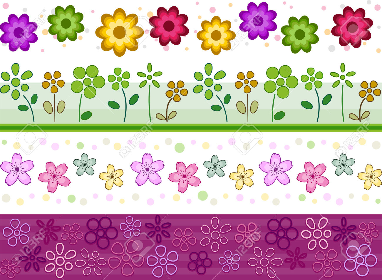 Floral Border Set With Clipping Path Royalty Free Cliparts.