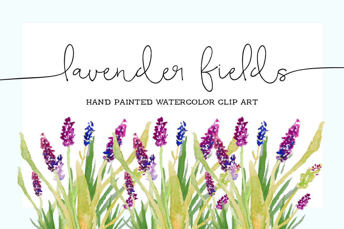 Lavender Fields Hand Painted Watercolor by bellaloveletters.