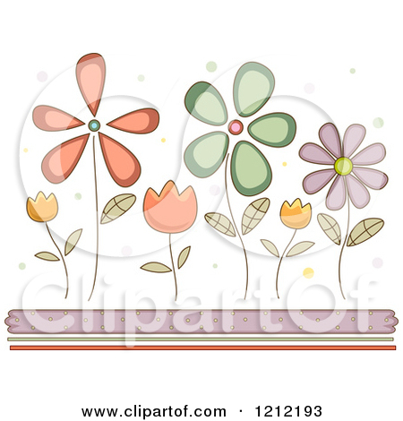 Cartoon of Pretty Dainty Flowers Andd Ots over Borders.
