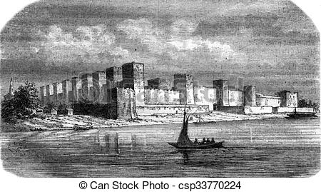Clip Art of Fortress Semendria, on the Danube, vintage engraving.