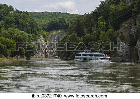 "Stock Photography of ""Excursion boat in the Danube Gorge near."